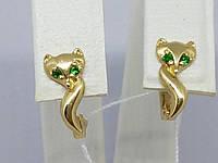 Золотые серьги с фианитами. Артикул 130972, фото 1