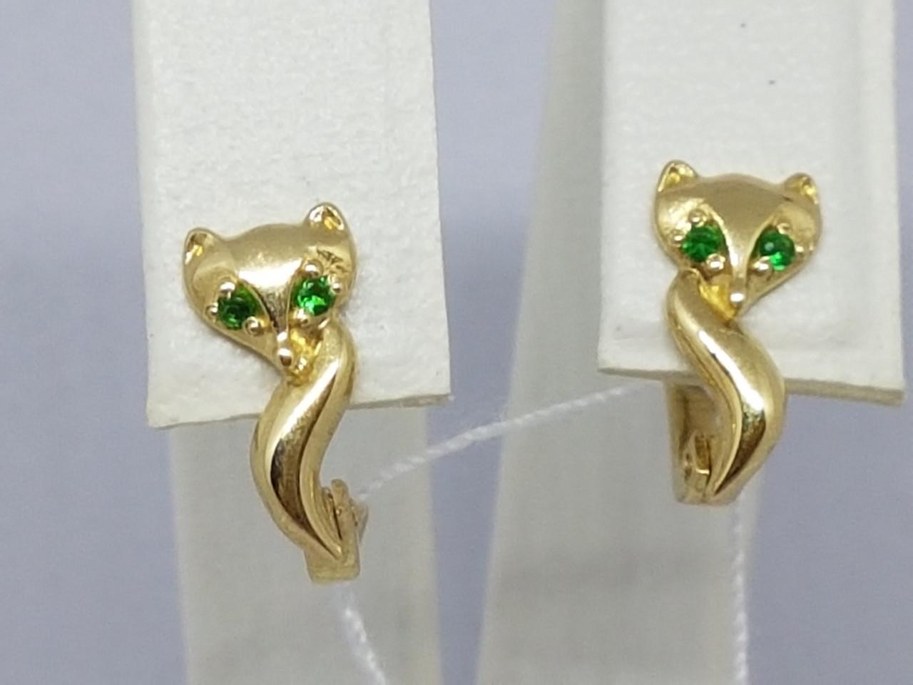 Золотые серьги с фианитами. Артикул 130972
