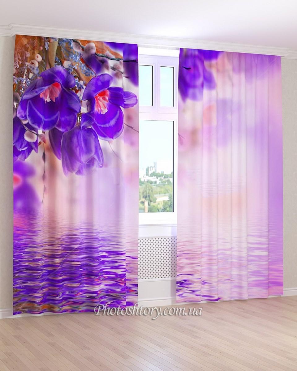 Фотошторы синие цветы и вода