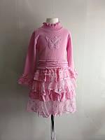 Платье вязаное теплое Бабочка 92-140 см