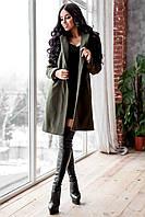 """Пальто женское """"Мина"""" из турецкого кашемира оливковое, фото 1"""
