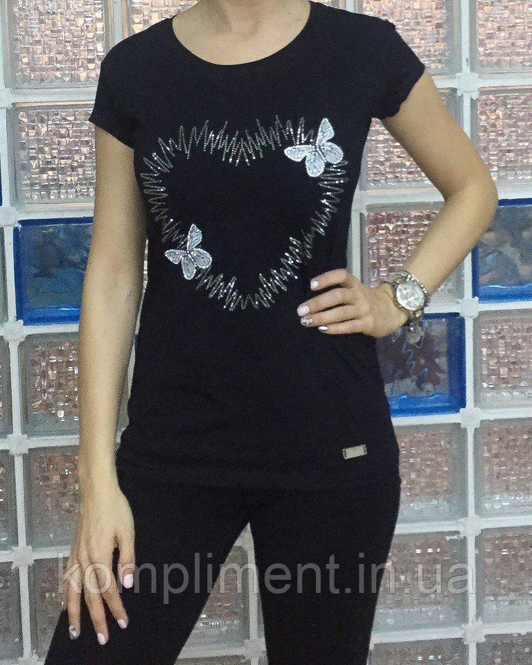 Летняя женская турецкая футболка с сердцем и бабочками