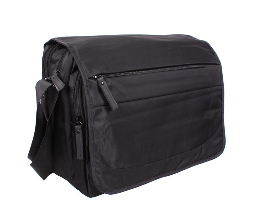 Горизонтальная мужская тканевая сумка формата А4 черная PR8311-1B