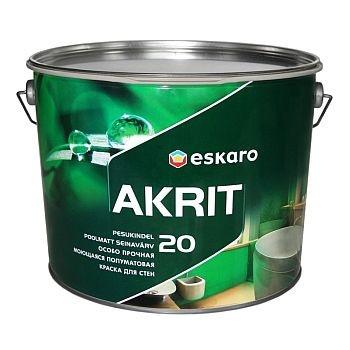 Особо прочная полуматовая моющаяся краска для стен ESKARO Akrit 20, 9,5л