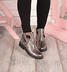 Ботинки открытый бок, серебро