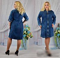 Джинсовое платье на молнии, с 52-58 размер, фото 1