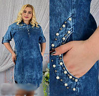 Джинсовое платье с откидным рукавом, с 52-58 размер, фото 1