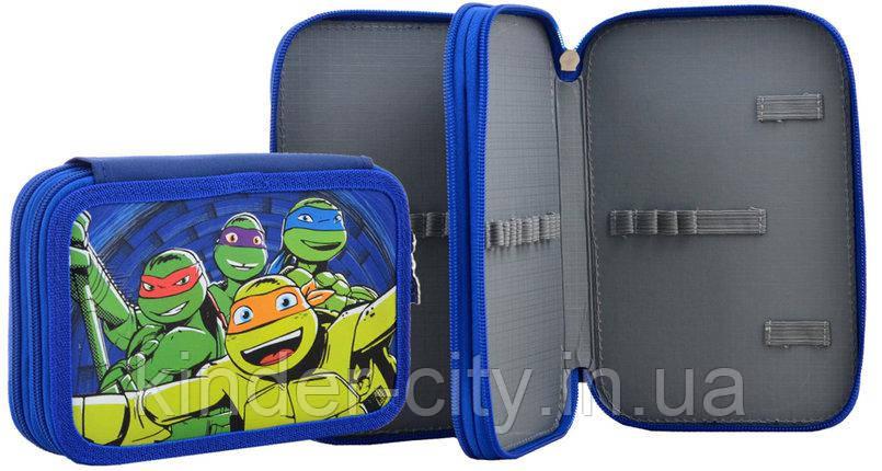 Пенал 1 Вересня твердый 531758 на два отделения для мальчика Ninja Turtles