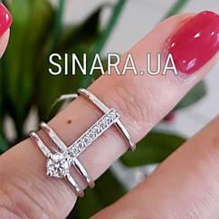 Кольцо на фалангу с одним камнем серебро