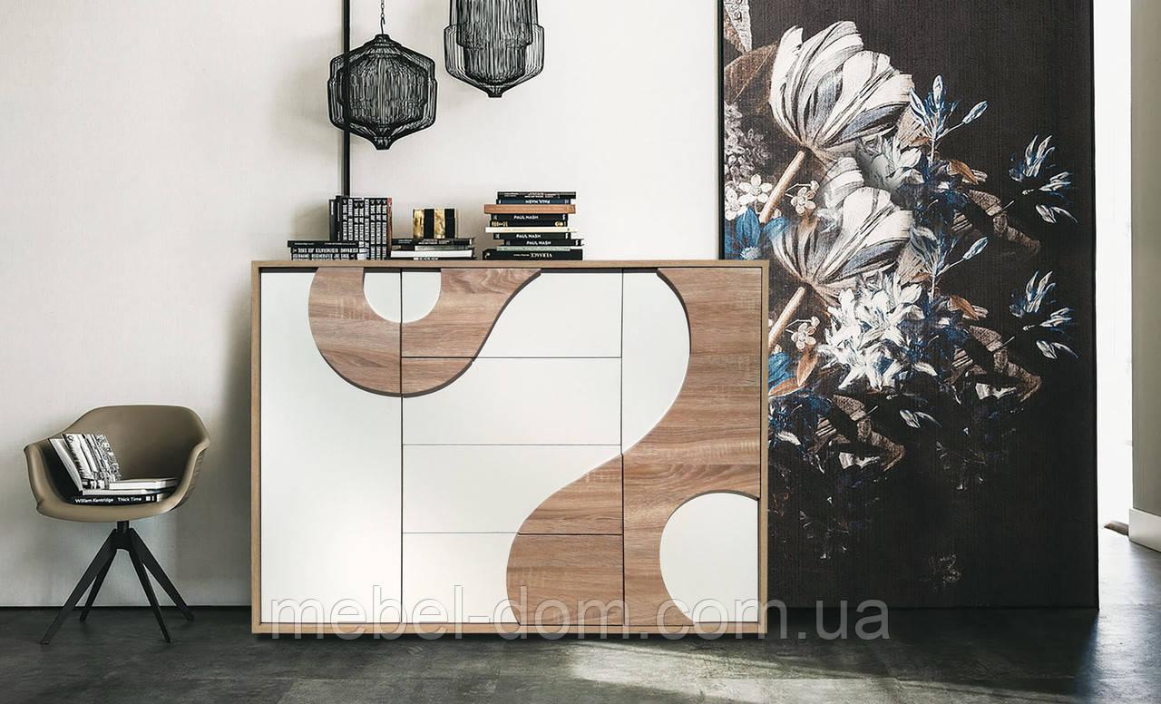 Комод Акварель комбинированный, с ящиками и тумбами Дуб сонома+Белый
