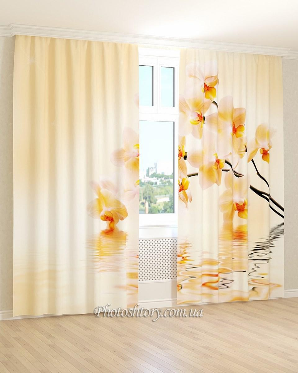 Фотошторы желто-белая орхидея 3Д