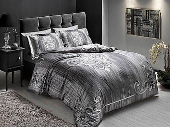 Двуспальное евро постельное белье TAC Serenity Gri Сатин-Delux