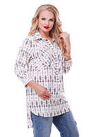 Рубашка женская большого размера VB01 принт, фото 1