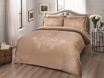 Двуспальное евро постельное белье TAC Lumina Gold Сатин-Delux