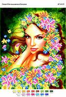 Схема для вышивания бисером - Девушка в цветах
