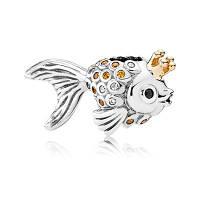 Шарм Пандора Золотая Рыбка, Пандора серебро с золотом