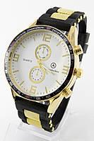 Мужские наручные часы (белый циферблат, черный ремешок), фото 1