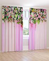 Фотошторы цветы на розовом фоне 3д