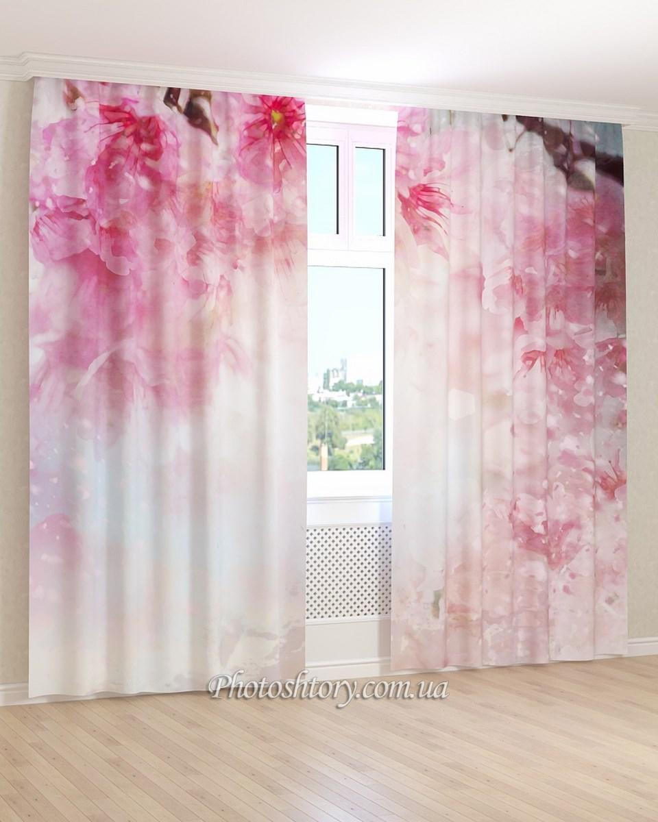 Фотошторы 3d светло-розовые цветы