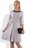 Экстравагантное серое офисное платье Д-1014