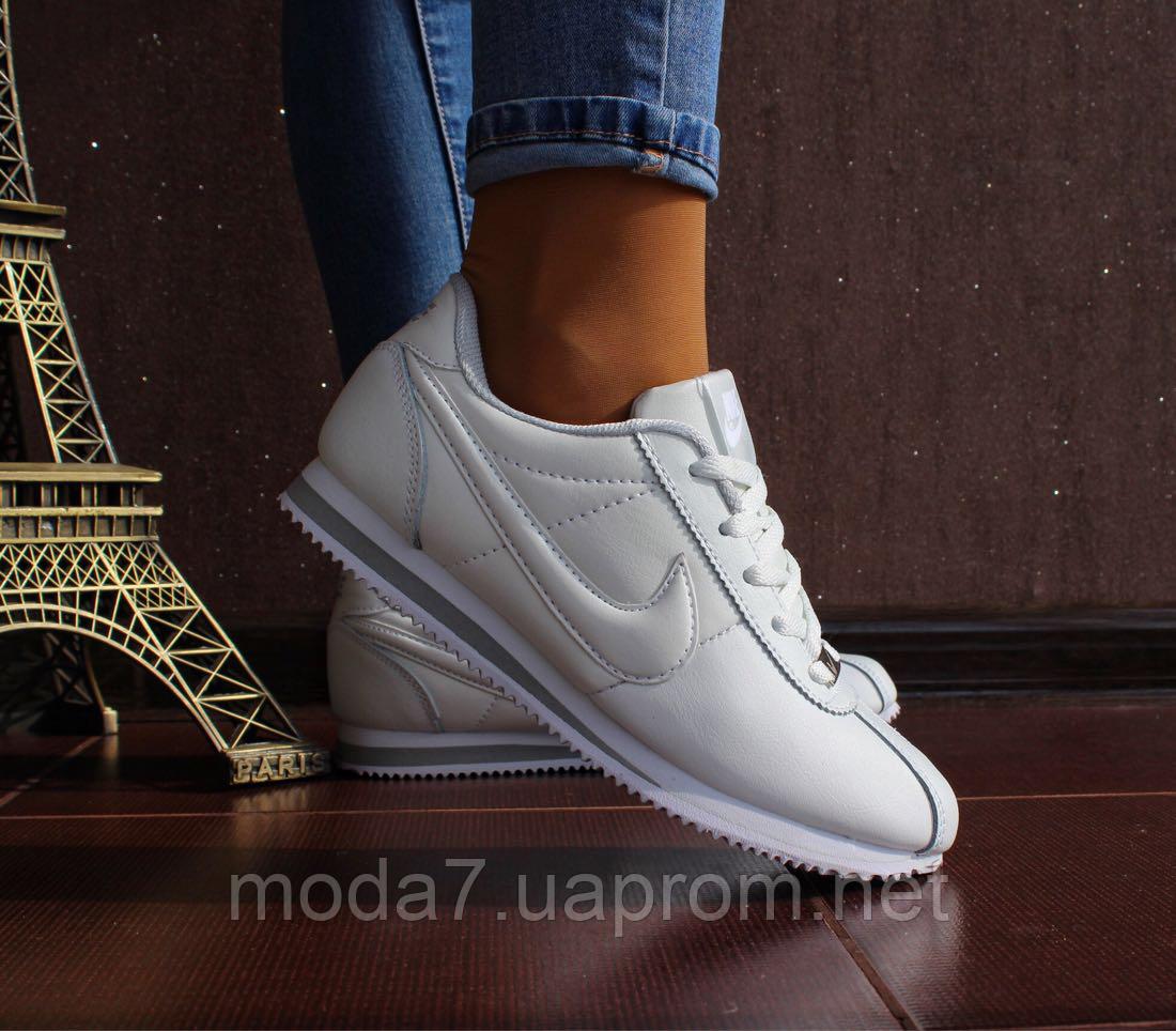 Кроссовки женские белые Nike Cortez нат. кожа реплика