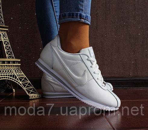 Кроссовки женские белые Nike Cortez нат. кожа реплика, фото 2