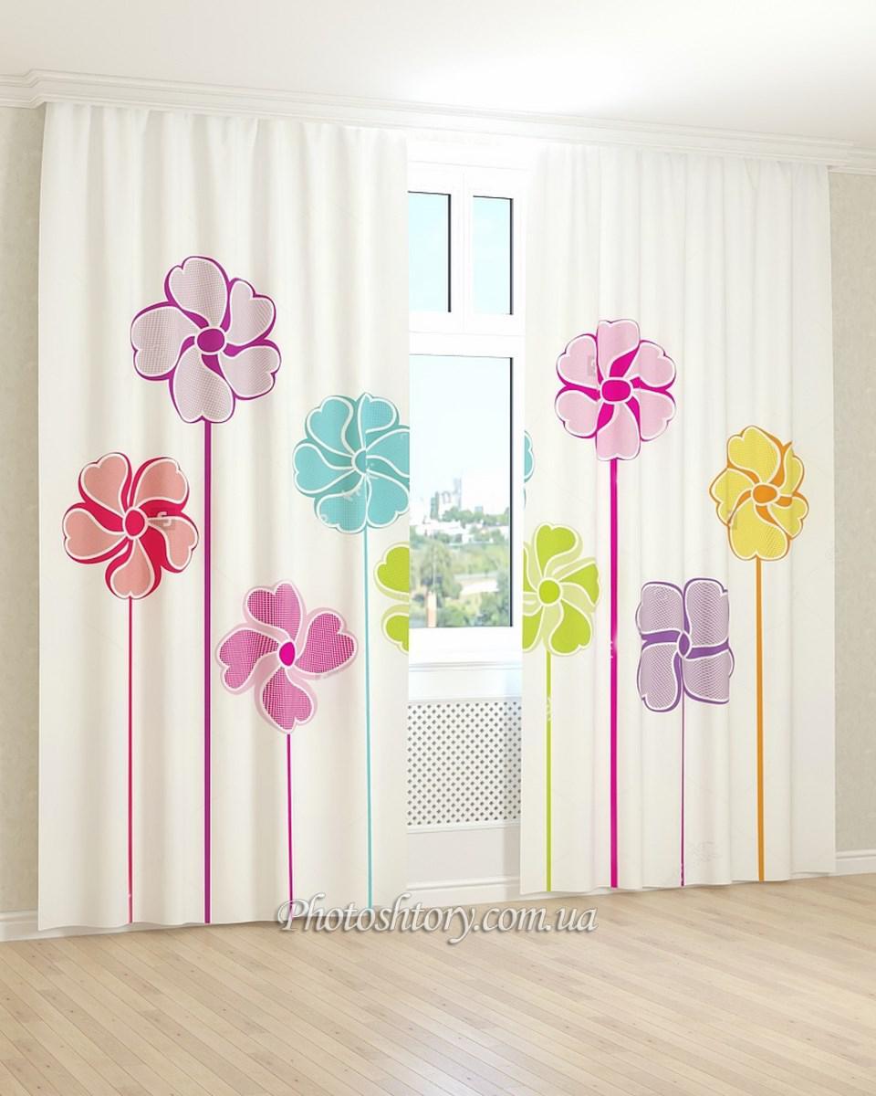 Фотошторы 3d нарисованные цветы