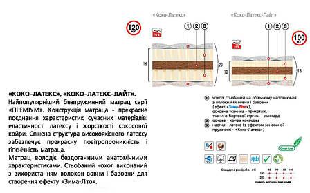 ✅ Ортопедический беспружинный матрас  Коко-латекс-лайт 80x190 см. Велам, фото 2