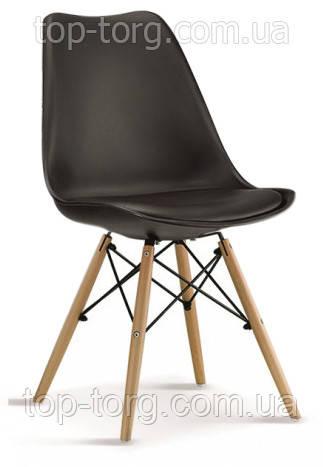 Стул Eric DS-263 черный твердая спинка полипропилен c мягким сиденьем эко кожа, кожзам, на деревянных ножках из массива бука. Металлическое крепление