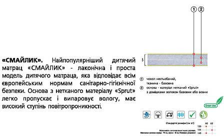 ✅ Ортопедический детский матрас  Смайлик 60х120 см. Велам, фото 2