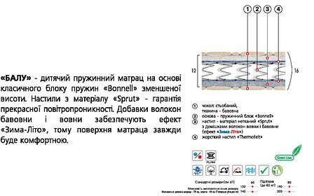 ✅ Ортопедический детский матрас  Балу 60х120 см. Велам, фото 2