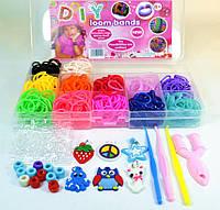 Набор резинок для плетения 12 цветов 600 пластик бокс