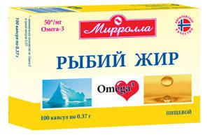 Рыбий жир пищевой Мирролла 370мг.100капс.