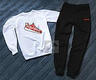 Спортивний костюм Supreme Супрім білий з чорним (РЕПЛІКА)