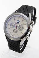 Мужские наручные часы (серебристый корпус, черный ремешок), фото 1