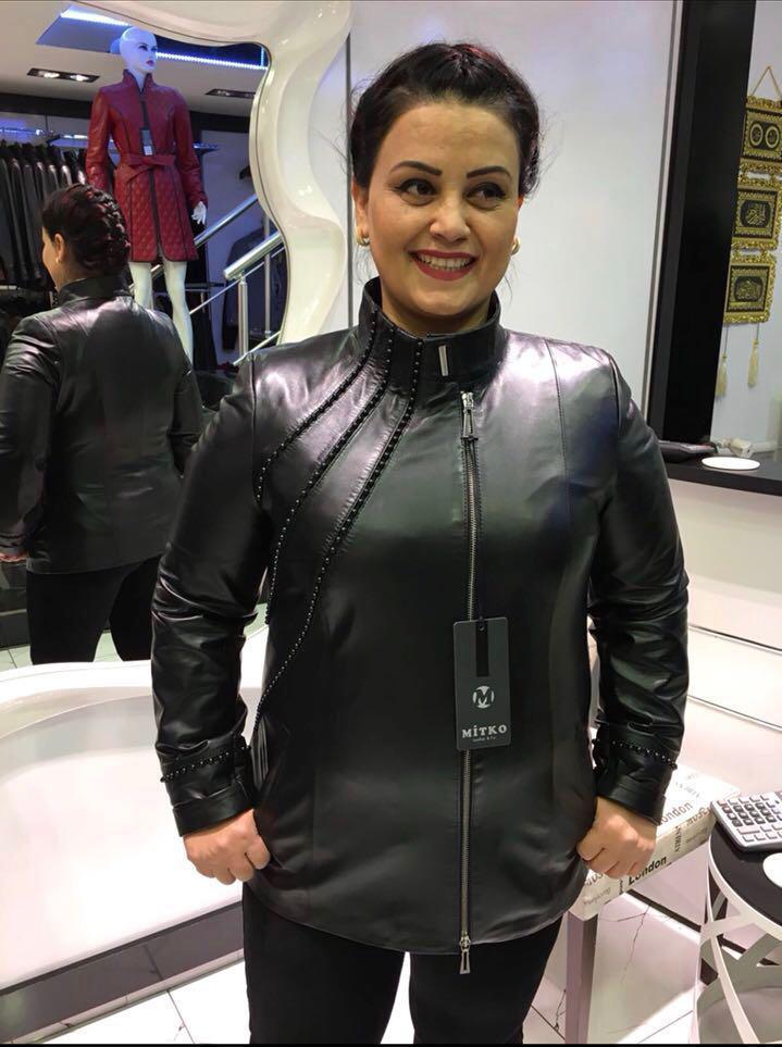 Женская Куртка  С Бусинами Батал Черная 036МК