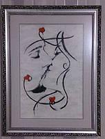 """Картина """"Поцелуй""""Картина вышитая крестиком. Размер вместе с рамкой 49х63, рамка сделана в багетной мастерской"""