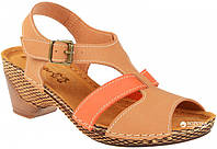 Женские стильные песочные босоножки на каблуке Inblu VL14ET