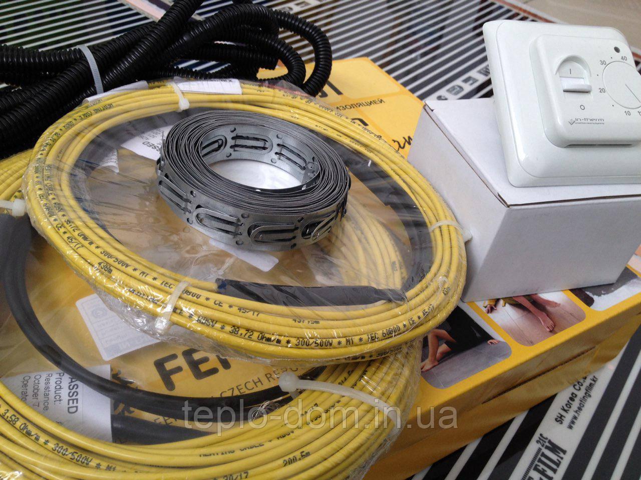 Нагревательный кабель (готовый с терморегулятором) 5.3 м.кв.