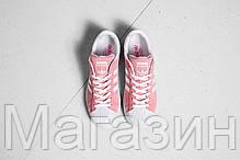 Женские кроссовки Adidas Superstar Suede Pink Адидас Суперстар розовые, фото 3