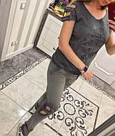 Женский костюм трикотаж-варенка отделка камни (2 цвета)
