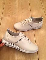Женские белые кроссовки из натуральной кожи, фото 1