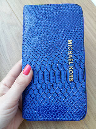 Кошелек Michael Kors эко-кожа под питона, синий электрик  на молнии, фото 2