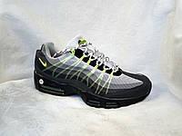 Мужские кроссовки Nike Air Max 95 серые с салатовым , фото 1