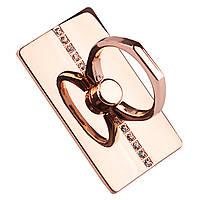 ★Кольцо держатель MicroData S652 Розовое золото инкрустированное универсальное для смартфона крепление