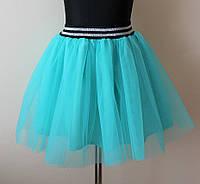 Детская юбка для девочек пышная с фатином бирюза