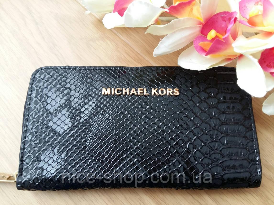 Кошелек Michael Kors эко-кожа под питона,черный на молнии, фото 2