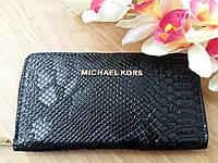 Кошелек Michael Kors эко-кожа под питона,черный на молнии, фото 1