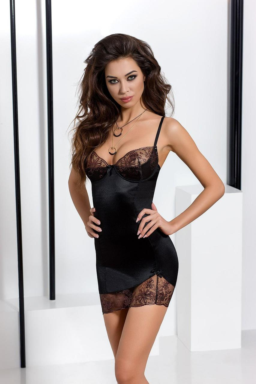 Пеньюар BRIDA CHEMISE black XXL/XXXL - Passion