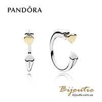 Pandora Серьги ДВА СЕРДЦА #296230CZ серебро 925 золото 14к  Пандора оригинал